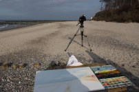 Der NDR filmt die Entstehung eines Aquarells von Frank Koebsch am Nienhäger Strand (c) Frank Koebsch