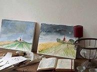 Malen in der Alten Büdnerei - Aquarelle vom Leuchtturm Bastorf werden fertig gestellt (c) Frank Koebsch (3)