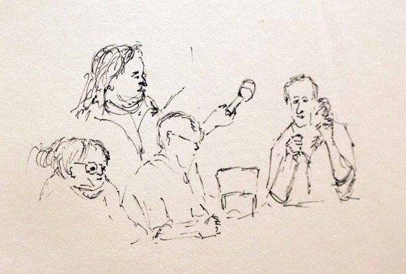 Erste Skizzen eines Teilnehmers von Interview mit Jenz Hübner (c) Frank Koebsch