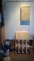 2 works beginning. Mixed Media of Coffee Filters, Coffee Grounds, Bible Pages.