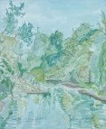 """""""South from the Main Street Bridge, Waterford, WI,"""" Watercolor on Paper, $100"""