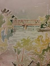 """""""Bridge over the Wisconsin River, WI Dells"""" Landscape $100"""