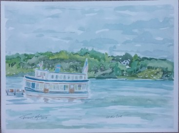 """""""At the Dock,"""" 9"""" x 12"""", watercolor on paper, $100"""