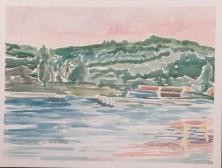 """Sunset on Lake Geneva,"" 9"" x 12"", watercolor on paper, $100."