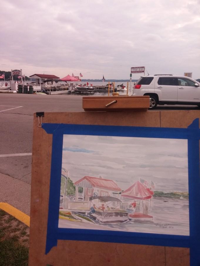 Painting near the Boat Launch in Lake Geneva - Marina Bay!