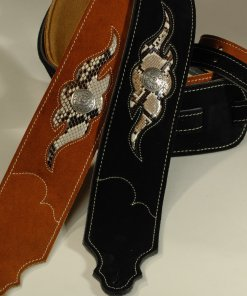 Sculpted Suede Guitar Strap - Snakeskin Leather