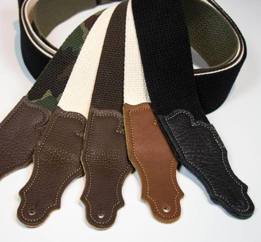 Cotton Guitar Strap - Glove Leather End Tab