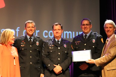 Civic Group Award winner Franklin Firefighter Charities (L-R) Marianne Schroer, Jeff Boggs, Rob Thomas, Jeremiah Rogers and Tim Murphy