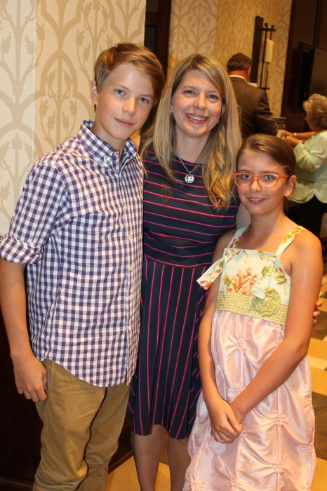Holly Evins Hines with her children Andrew and Evie