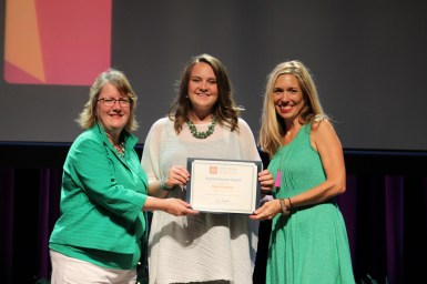 Franklin Tomorrow Executive Director Mindy Tate with Kate Shelton, Youth Initiative Award recipient, with Ondrea Johnson, who nominated Kate.
