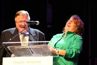 WAKM's Tom Lawrence and Franklin Tomorrow Executive Director Mindy Tate share a laugh