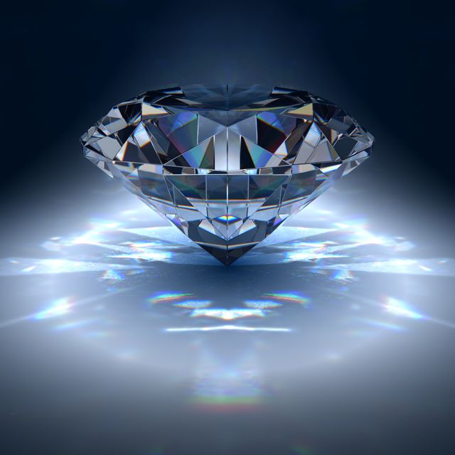 diamond refracting blue light.