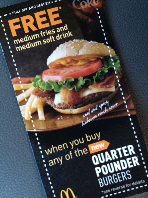 Photo of McDonald's Coupon for free fries and drink with purchase of new Quarter Pounder