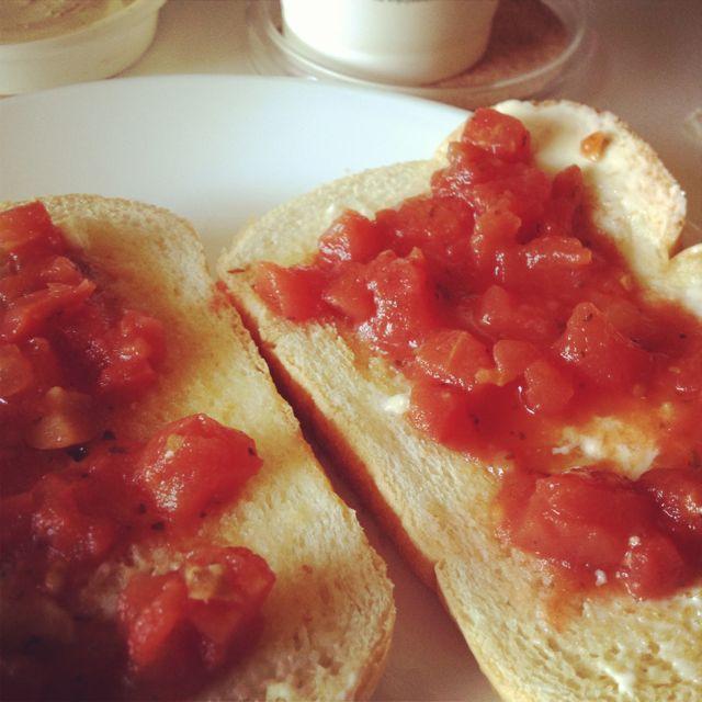 Breakfast Bruschetta: canned, diced and seasoned tomatoes on toast