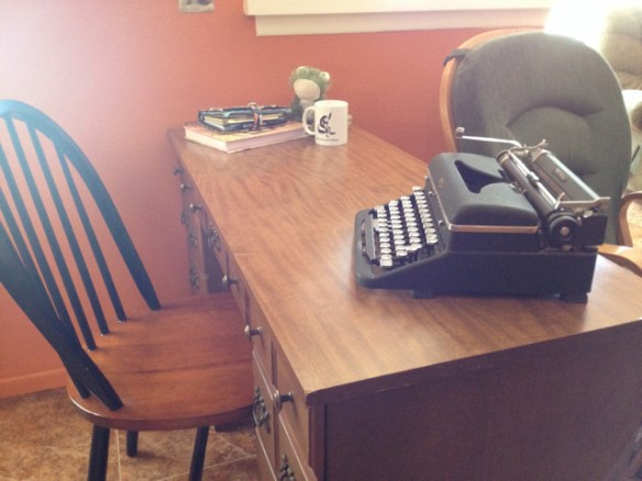 Desk and chair set with old typewriter