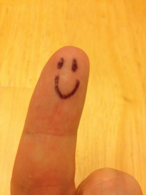 Lily Don't Blog - index finger with smiley face