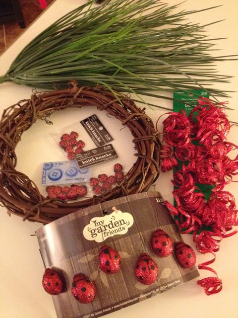Ladybug Wreath Ingredients