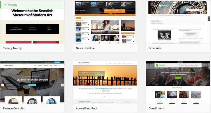 Pick A Theme For your blog with Bluehost