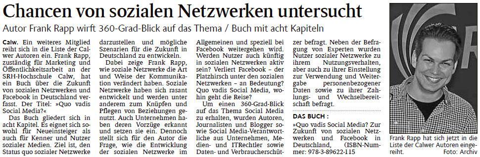 Schwabo - Frank Rapp - Chancen von sozialen Netzwerken untersucht
