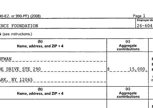 Ethical Science Foundation tax returns; 2008- 2015; Bronfman contributes $750,000 for human experiments