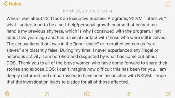Kristin Kreuk statement about NXIVM