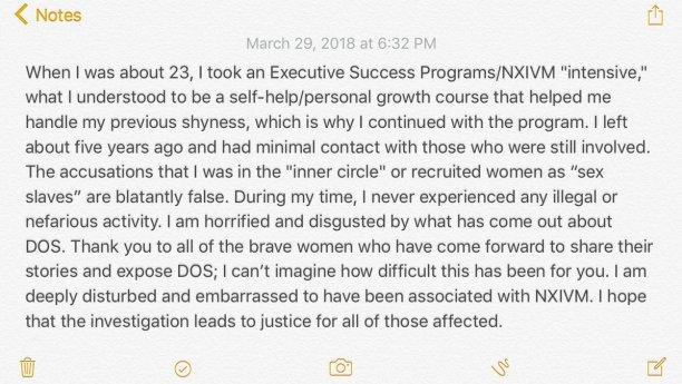 Kristin Kreuk statement about NXIVM