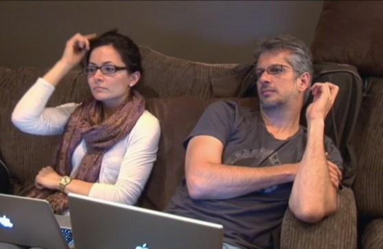 Sarah Edmondson Mark Vicente on couch