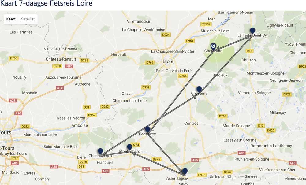 De route van deze fietsvakantie
