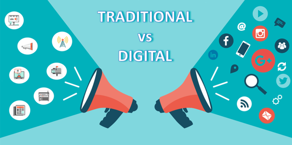 Traditional media icons on left and Digital icons on right side of screen seperated by word Traditional vs Digital