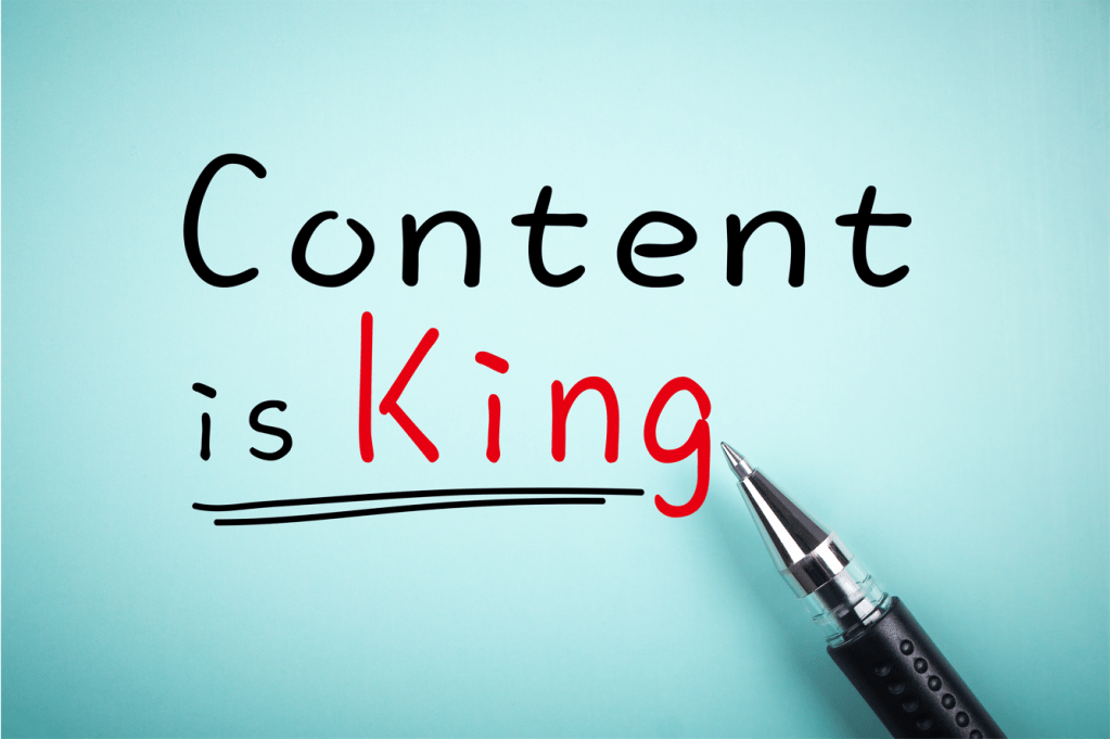 The Words Content is King written with King in red print
