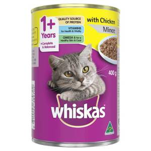 Whiskas 1+ Years Wet Cat Food Chicken Mince 400g can