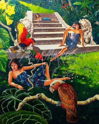 (KY379) At the foot of the steps to Paradise 95 x 75 cm $450