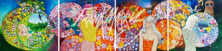 (Y763-Y766) Now I Have Lived the Four Seasons of Life 91.5 x 366 cm $4,000