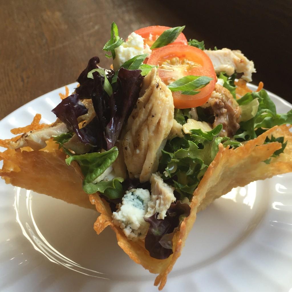 Chicken in a Basket: greens, local pastured chicken, bleu cheese, parmesan basket, dijon vinaigrette