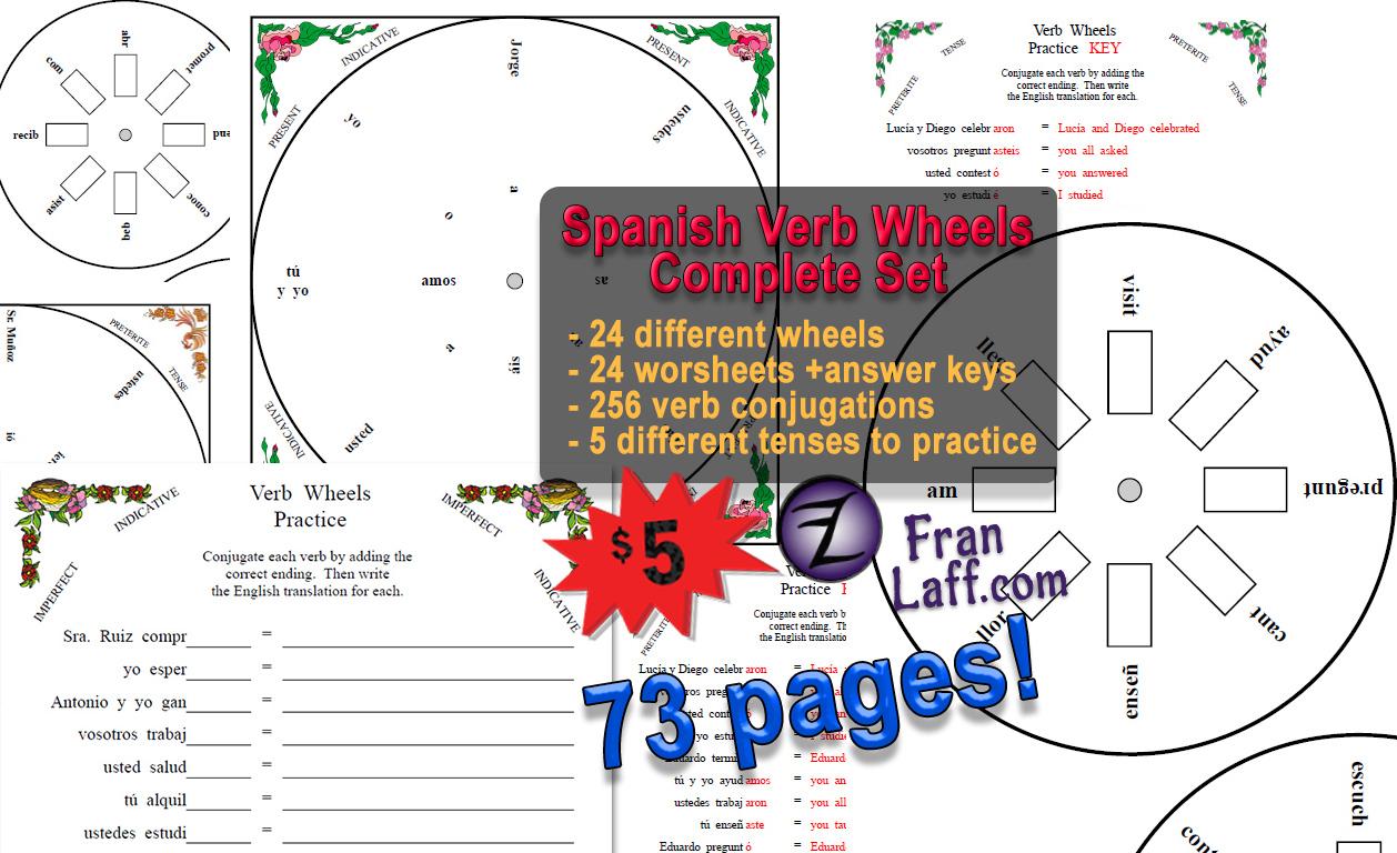 Spanish Verb Wheels Complete Set Franlaff