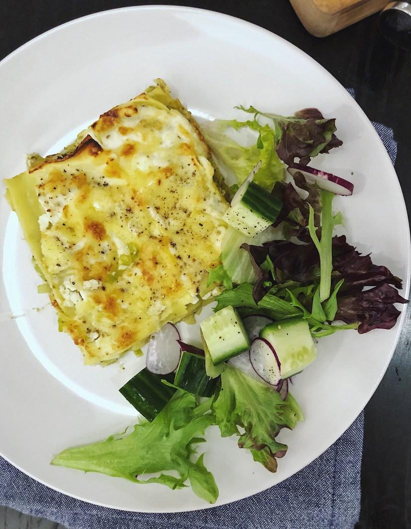 Leek and ricotta lasagne