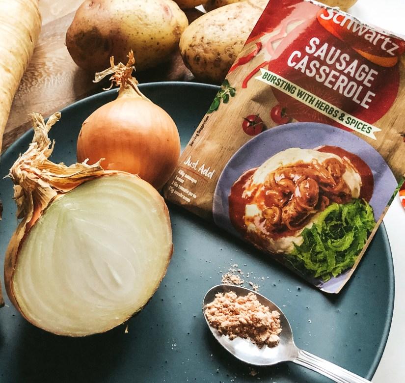 Schwartz Sausage Casserole Recipe Mix, onions and potatoes