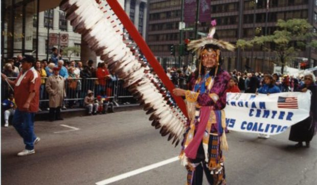 Native Americans participate in Chicago's 1991 Columbus Day Parade.