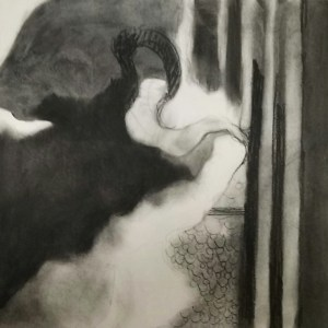 Smudgy charcoal drawing that resembles a delta seen from above cow symbols are in the bottom center and three fat smudgy stripes to the right.