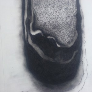 Smudgy charcoal drawing with a dark bag shape in the venter, filled with cow symbols and streams of what might be liquid.