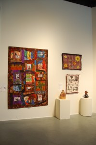"Quilt celebrating women of color with disabilities by Corbett OToole and ""I have a Dream"" quilts and ceramics by Raven Harper, from NIAD"
