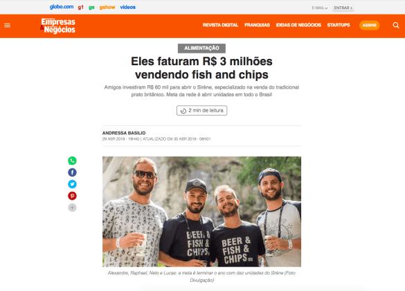 Eles faturam R$ 3 milhões vendendo fish and chips