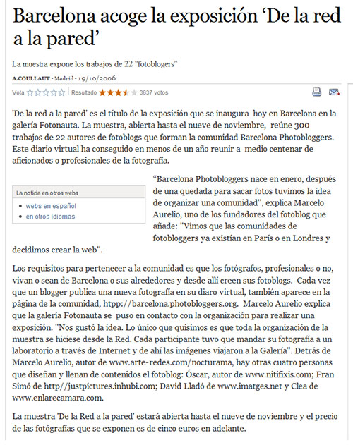 """""""De la red a la pared"""" en El País"""