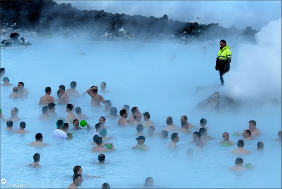 Crowds in the fumes of Blue Lagoon, Iceland