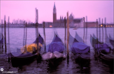 Blurred view across the lagoon towards San Giorgio Maggiore, Venice, Italy