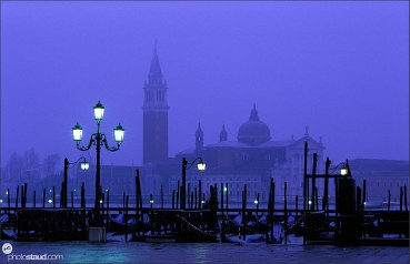 Romantic view of Venice Gondolas with San Giorgio Maggiore in the distance, Venice, Italy