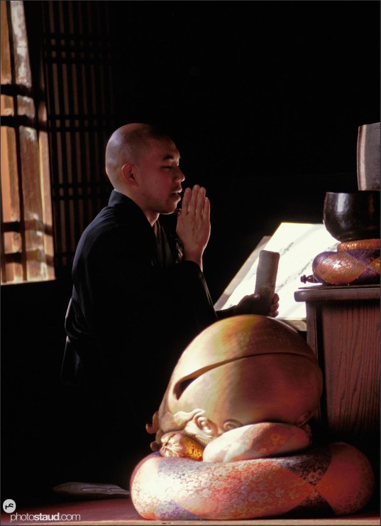 Buddhist monk in sutra meditation