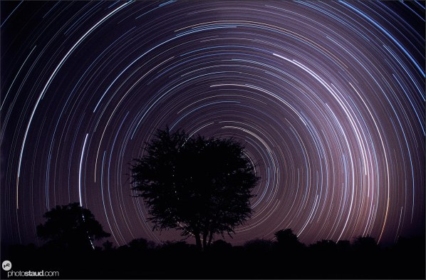 Star streaks of the southern sky in Bushmanland, Namibia