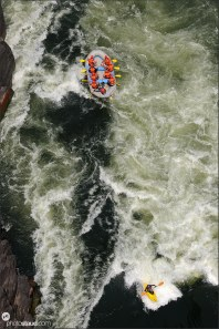 White water rafting on the Zambezi River, Zambia