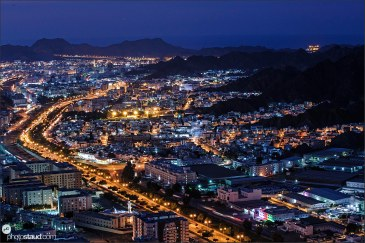 Night cityscape of Muscat, Oman